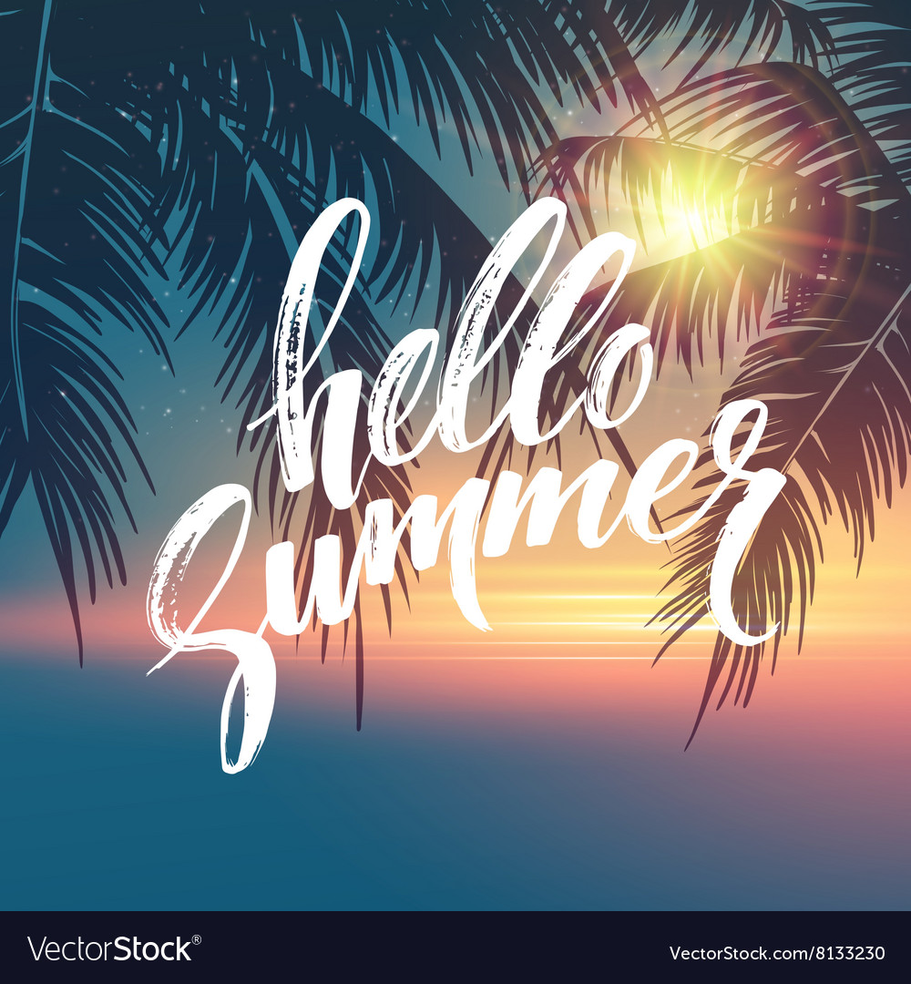 Hello summer background Tropical palm leaves