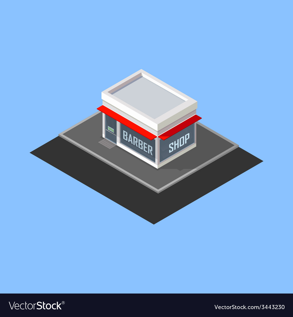 Isometric barber shop building
