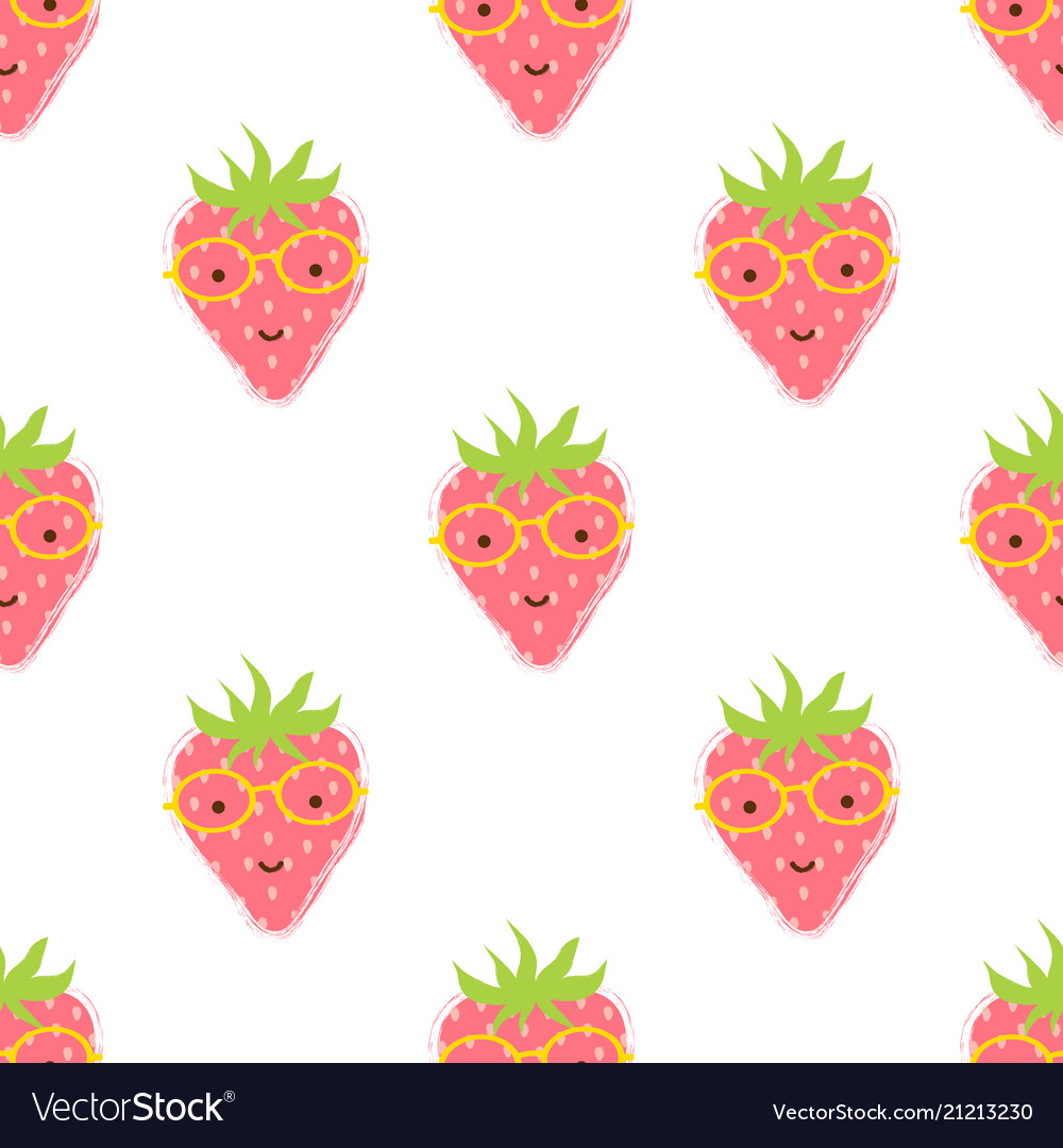 Pattern with cute strawberry