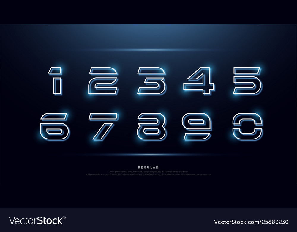 Technology number abstract neon font and alphabet