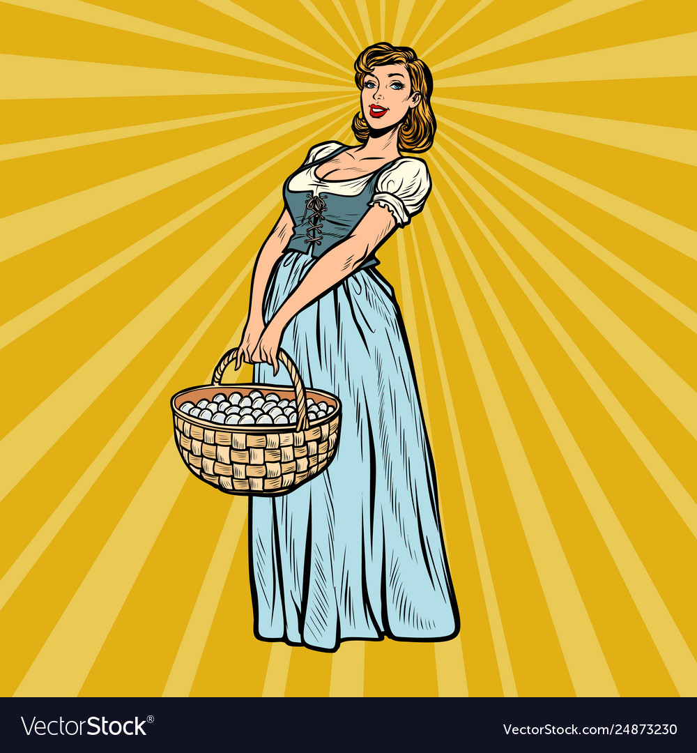 Village woman with a basket eggs
