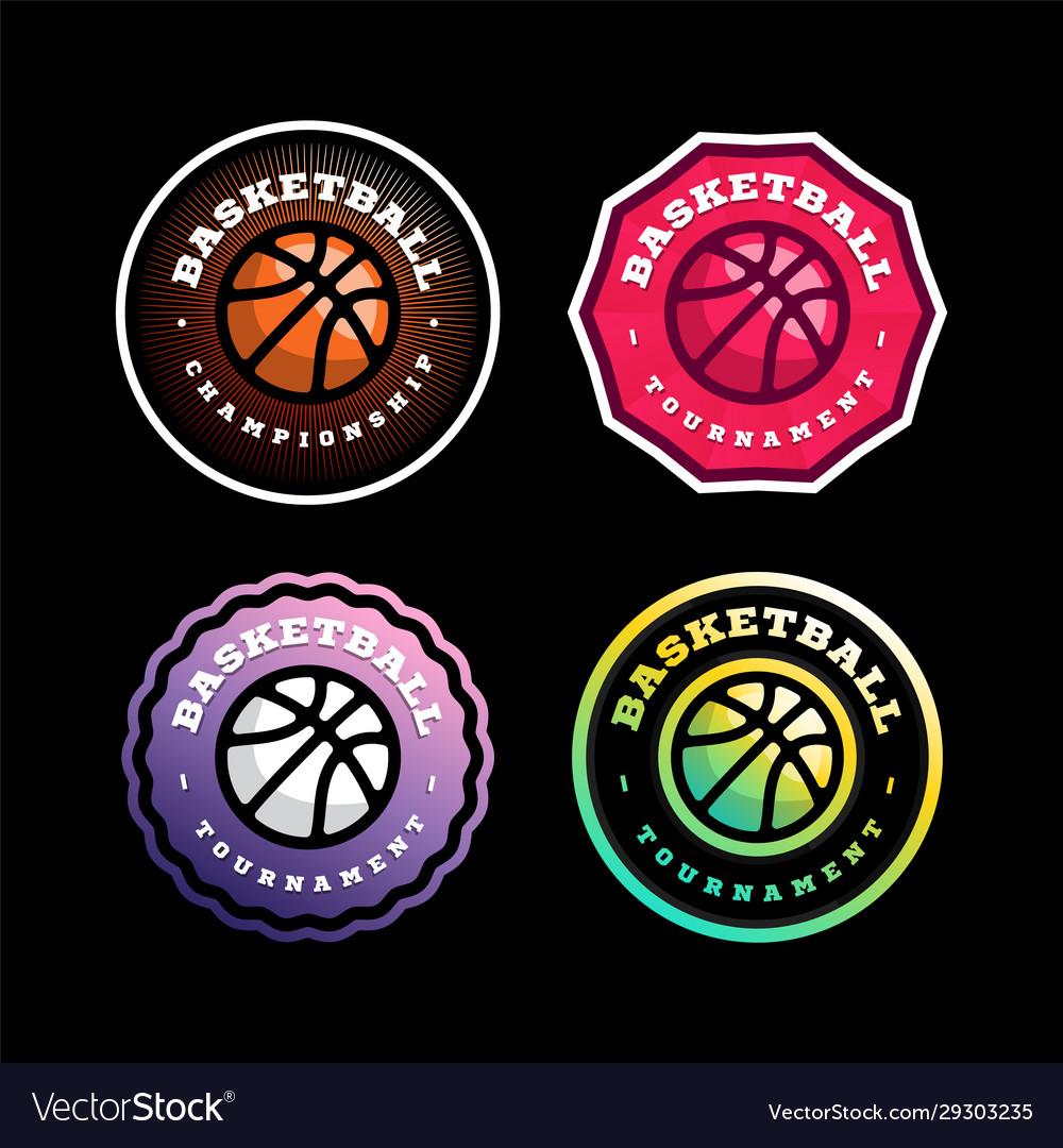 Basketball circular logo set modern professional