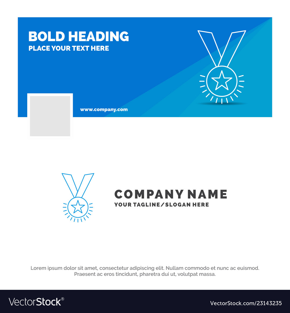 Blue business logo template for award honor medal
