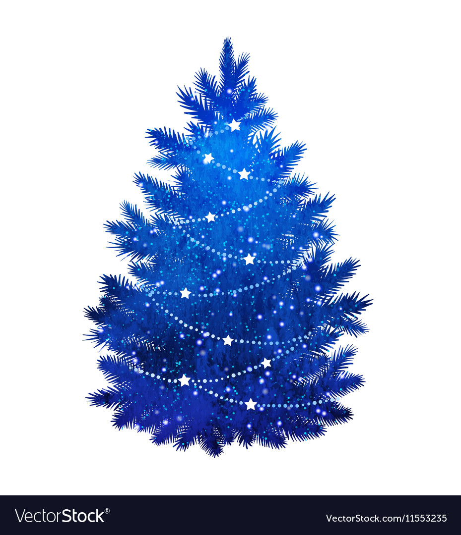 blue christmas tree on white background vector image - White And Blue Christmas Tree