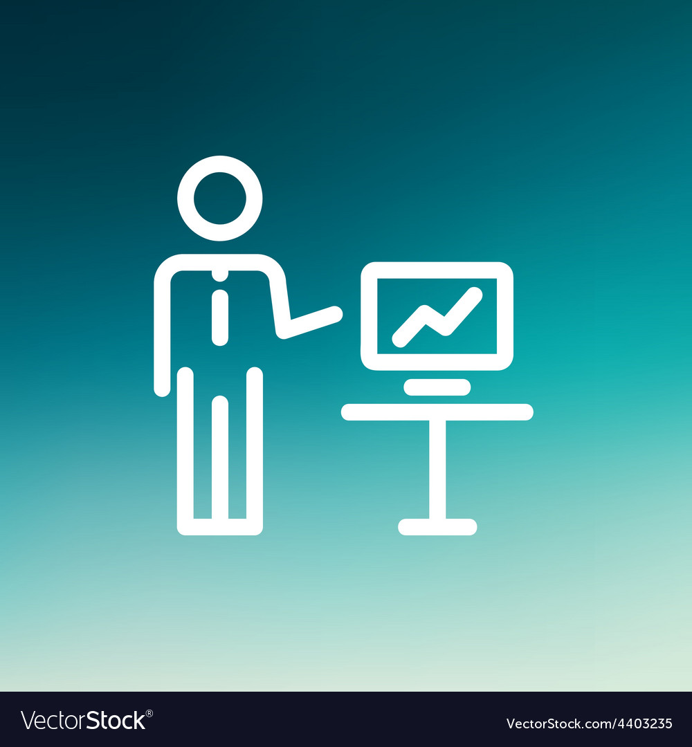 Businessman presentation thin line icon