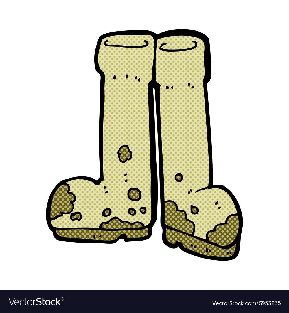 Comic cartoon muddy boots vector image