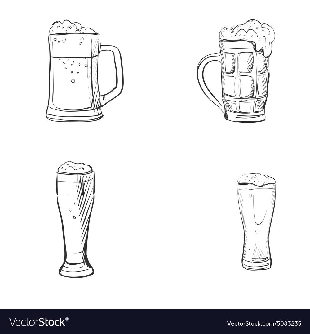 Doodle Beer Glasses Royalty Free Vector Image Vectorstock
