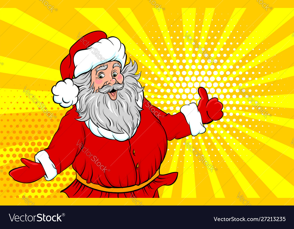 Funny old santa pop art style show place text