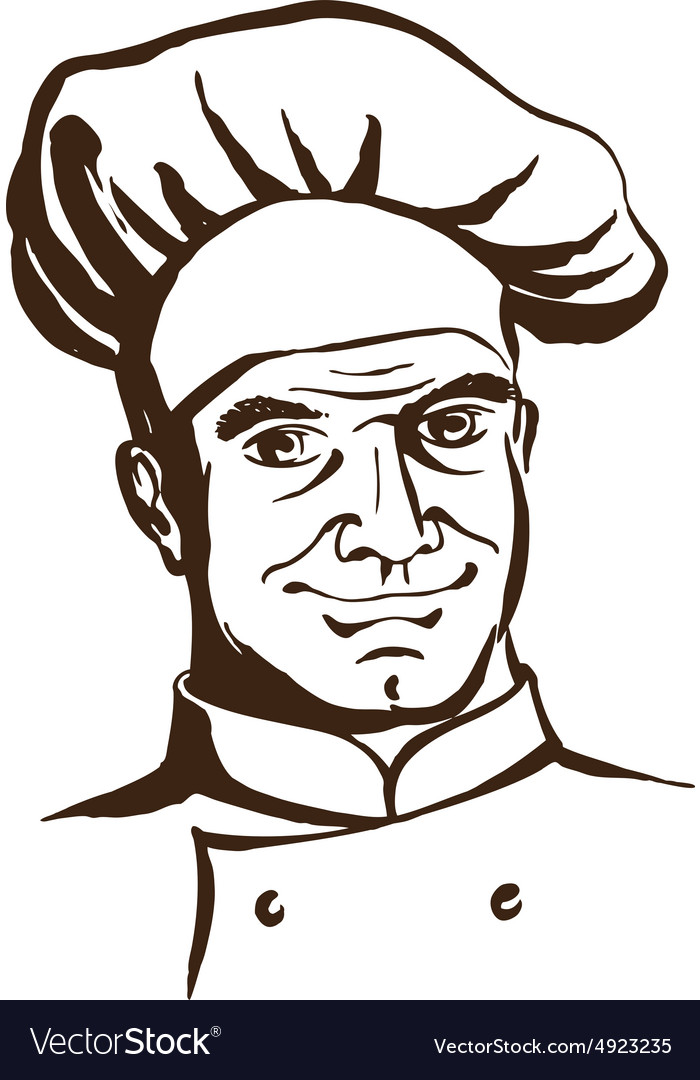 Handsome chef wearing hat and uniform Hand drawing