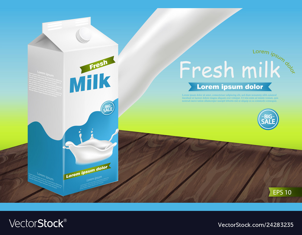 Milk package on wooden table realistic with
