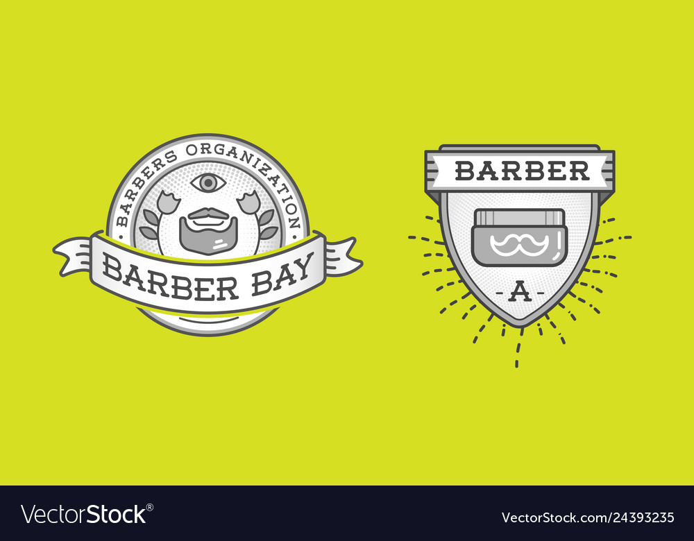 Set barber shop logo design vintage label