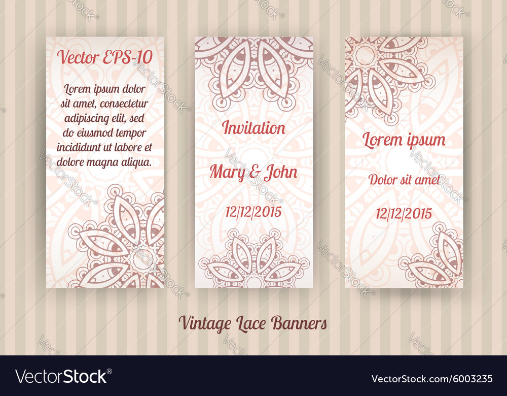 Set of 3 vintage lace banner templates Royalty Free Vector