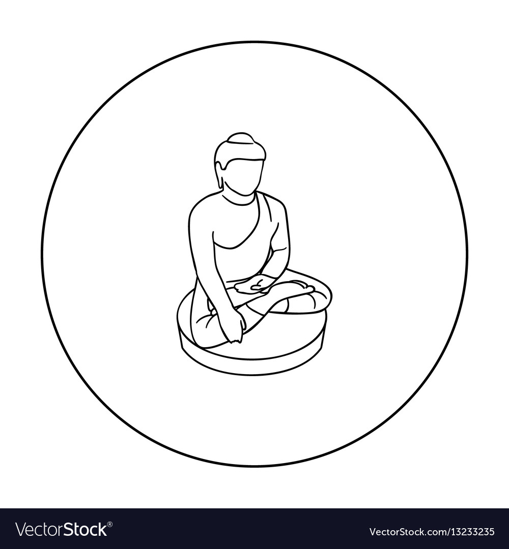 Sitting buddha icon in outline style isolated on