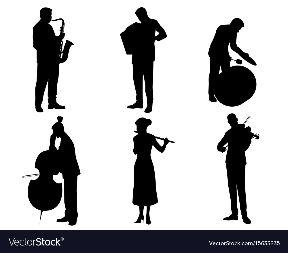 Six musicians silhouettes