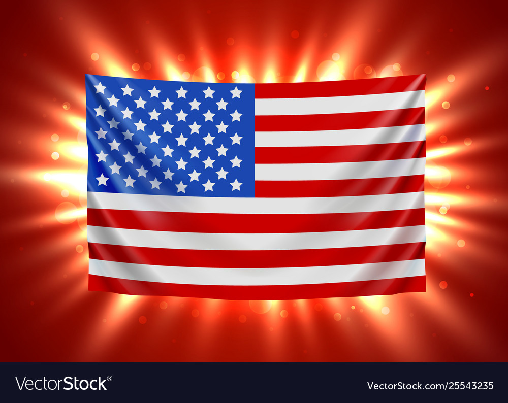 United states america flag with light beams