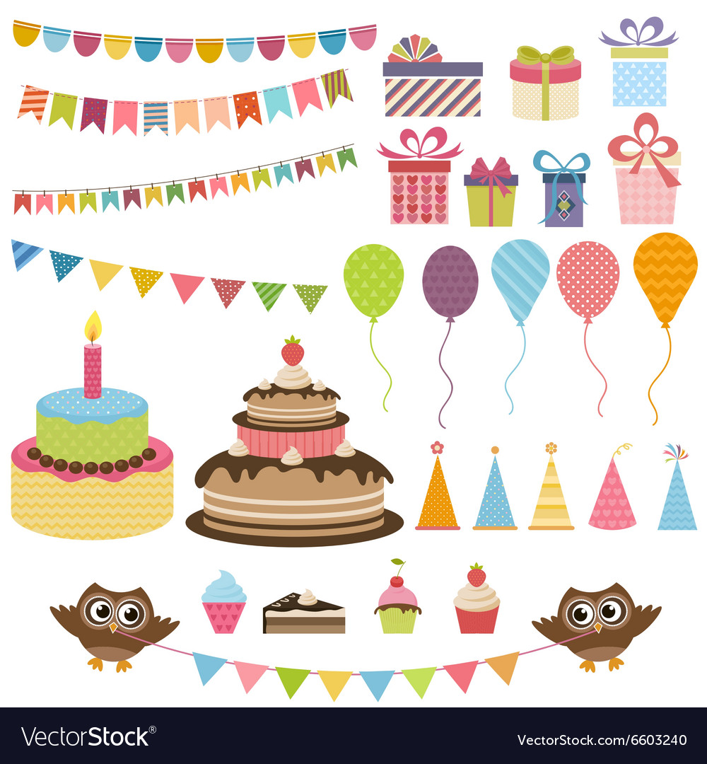 Birthday party elements set vector image