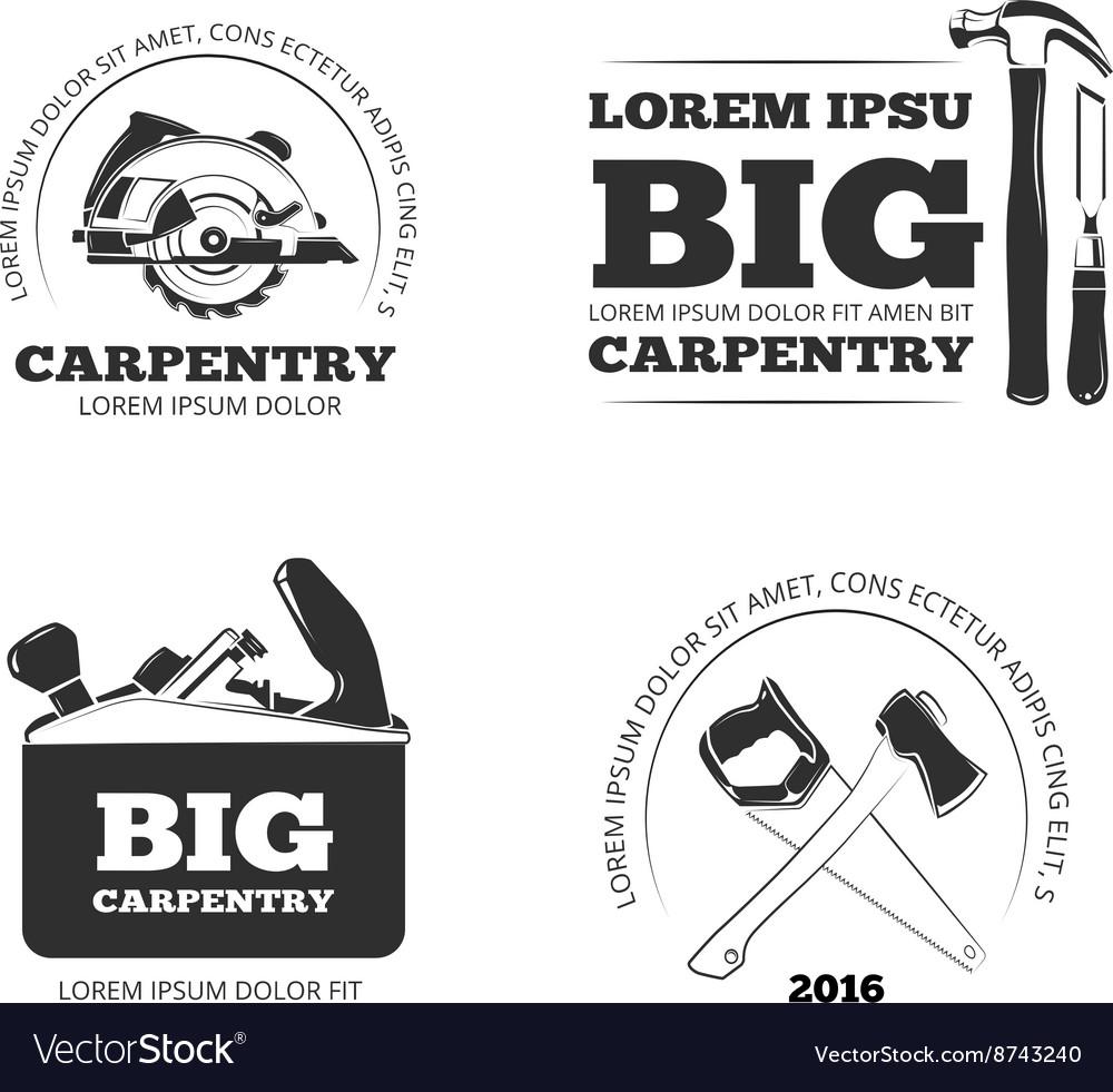 Carpentry workshop labels logos badges vector image