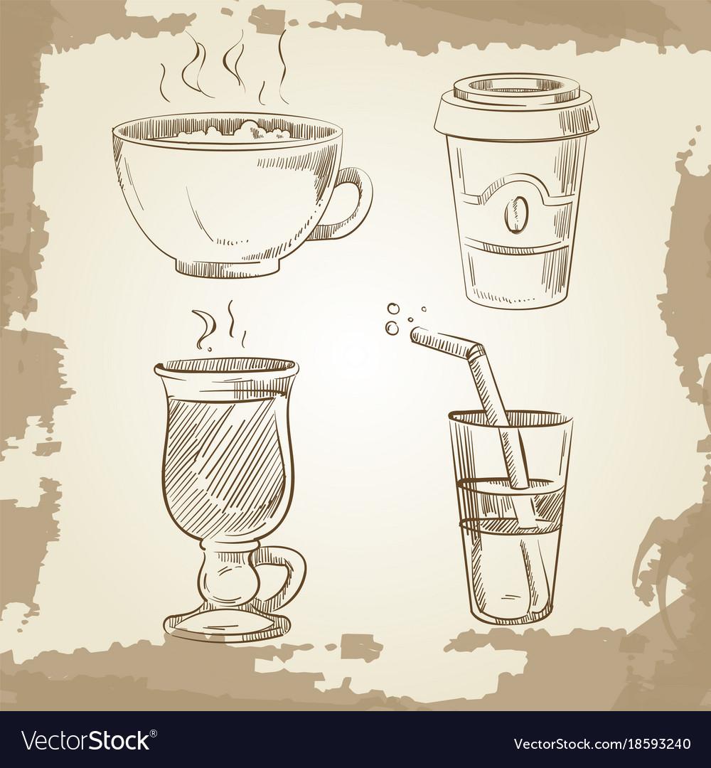 Hand drawn coffee tea and lemonade on vintage