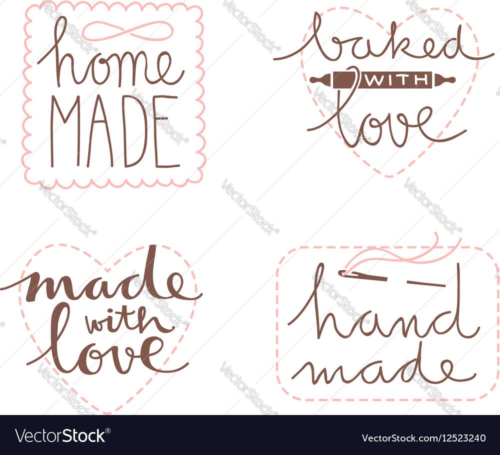 Hand drawn label set vector image
