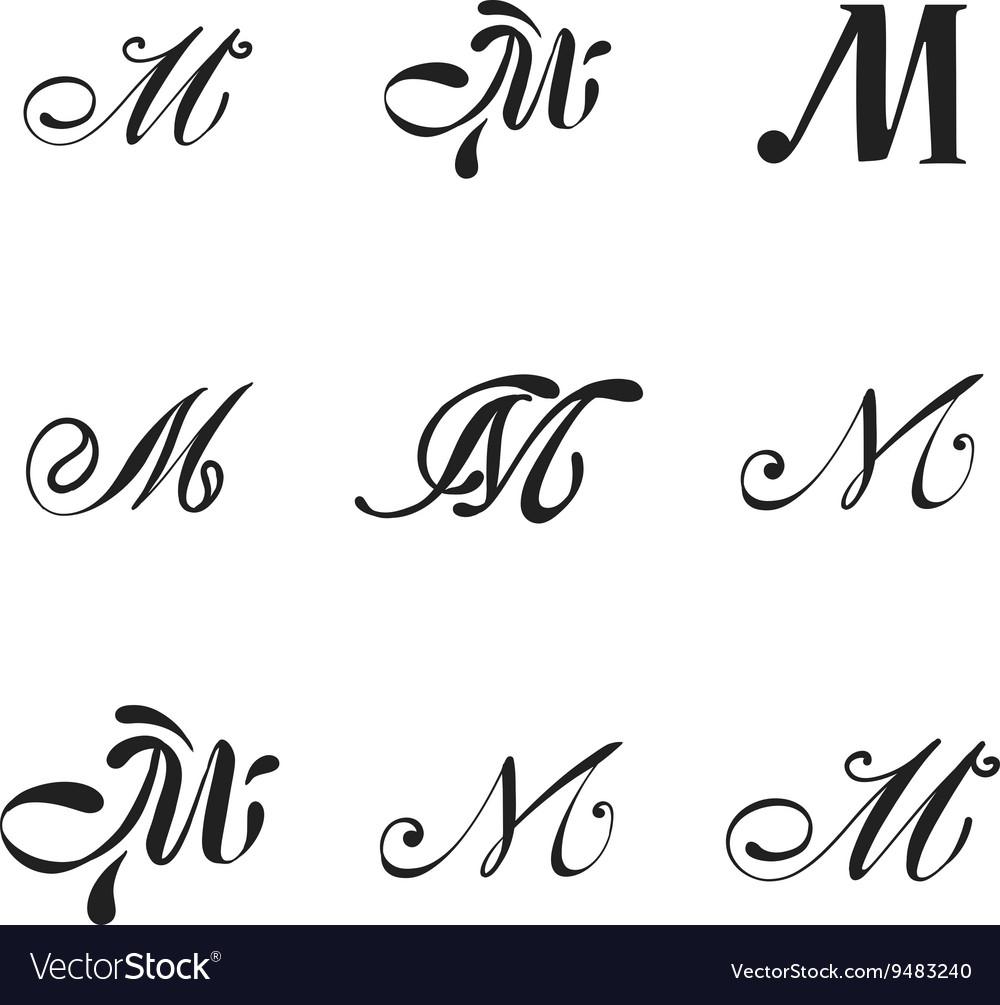 Luxury M monogram template Royalty Free Vector Image