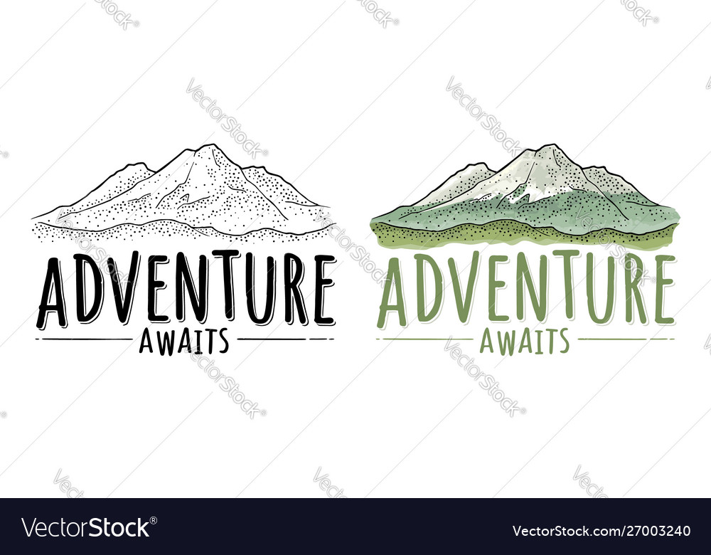 Mountain hand drawn retro logotype with lettering