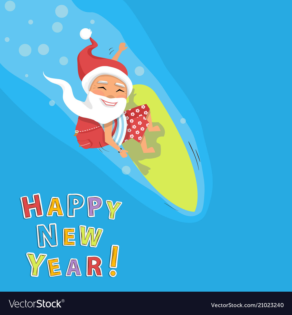 Santa claus surfer with gifts on a wave blue sea