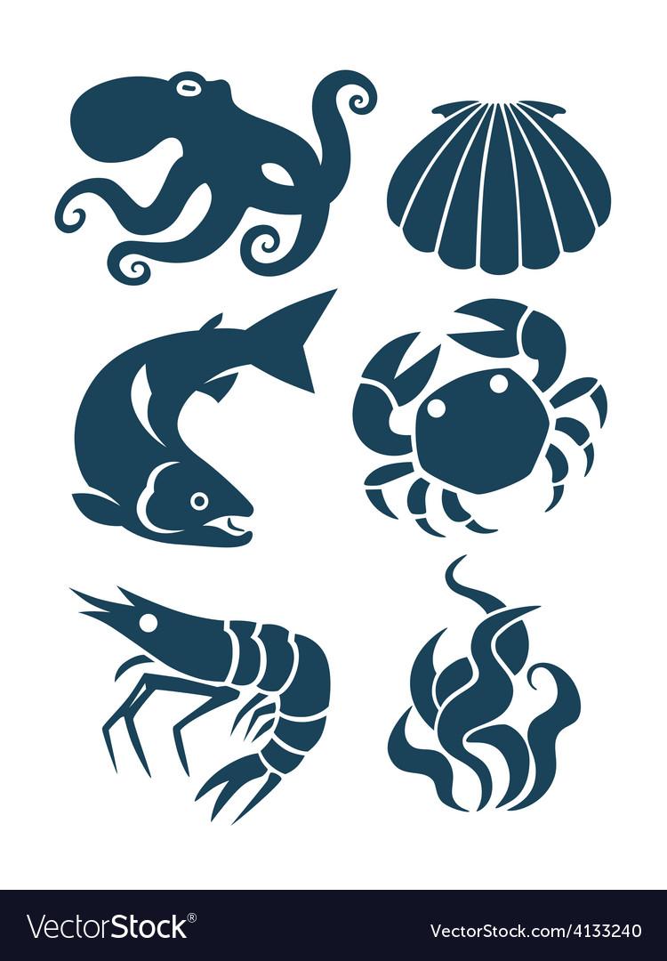 Sea life and food icons