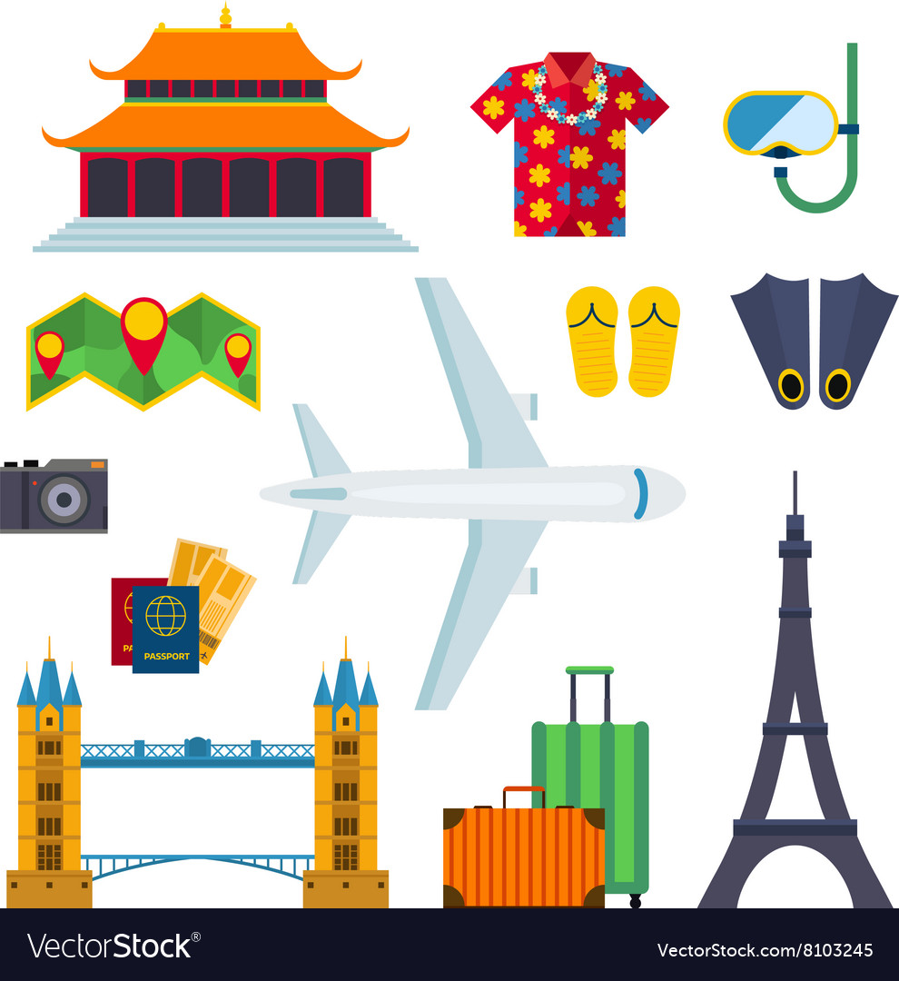 Airport travel icons vacation flat