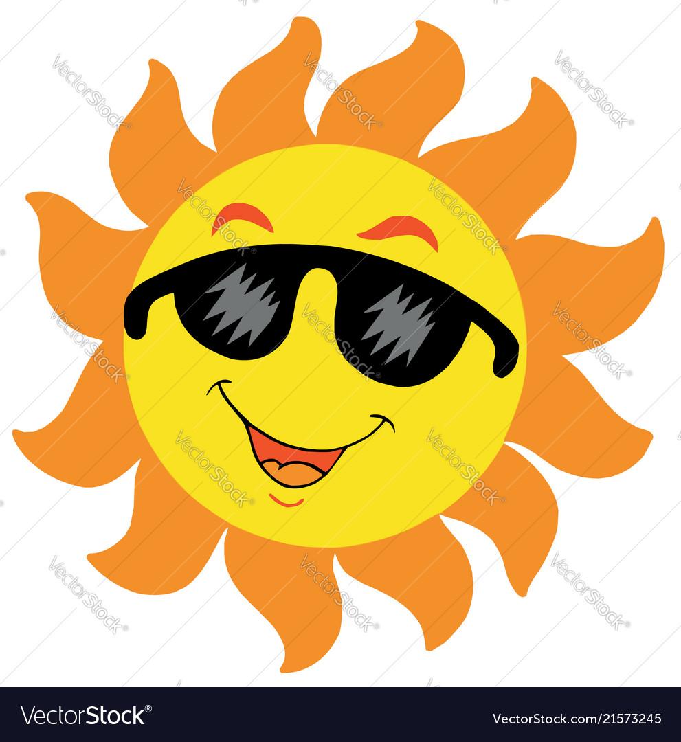 Cartoon sun with sunglasses Royalty Free Vector Image