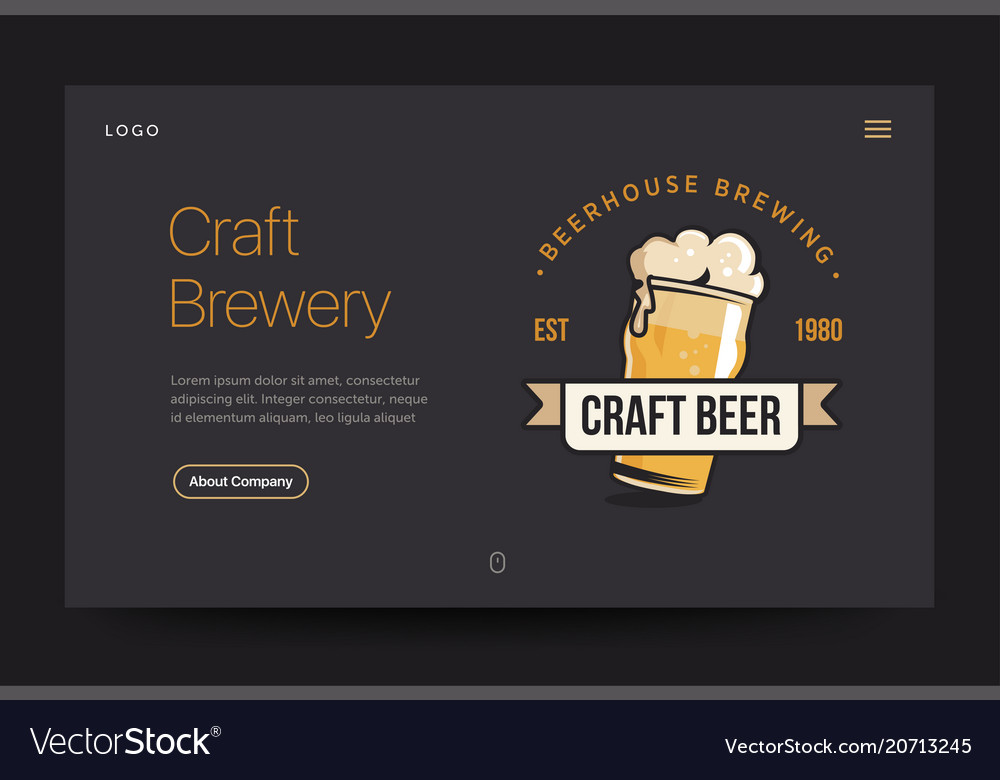 Craft brewery or pub website template beer glass