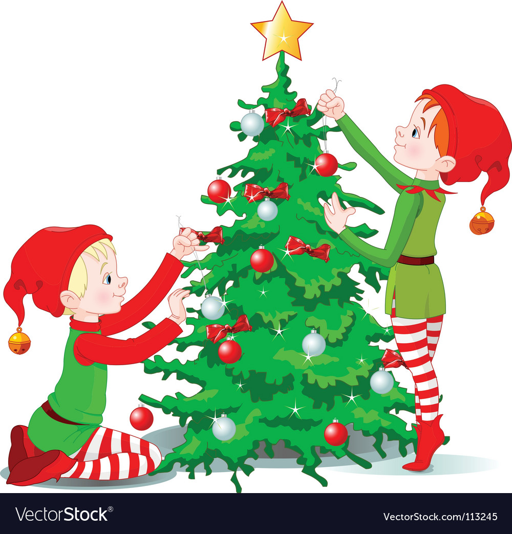 Elves Decorate A Christmas Tree Royalty Free Vector Image