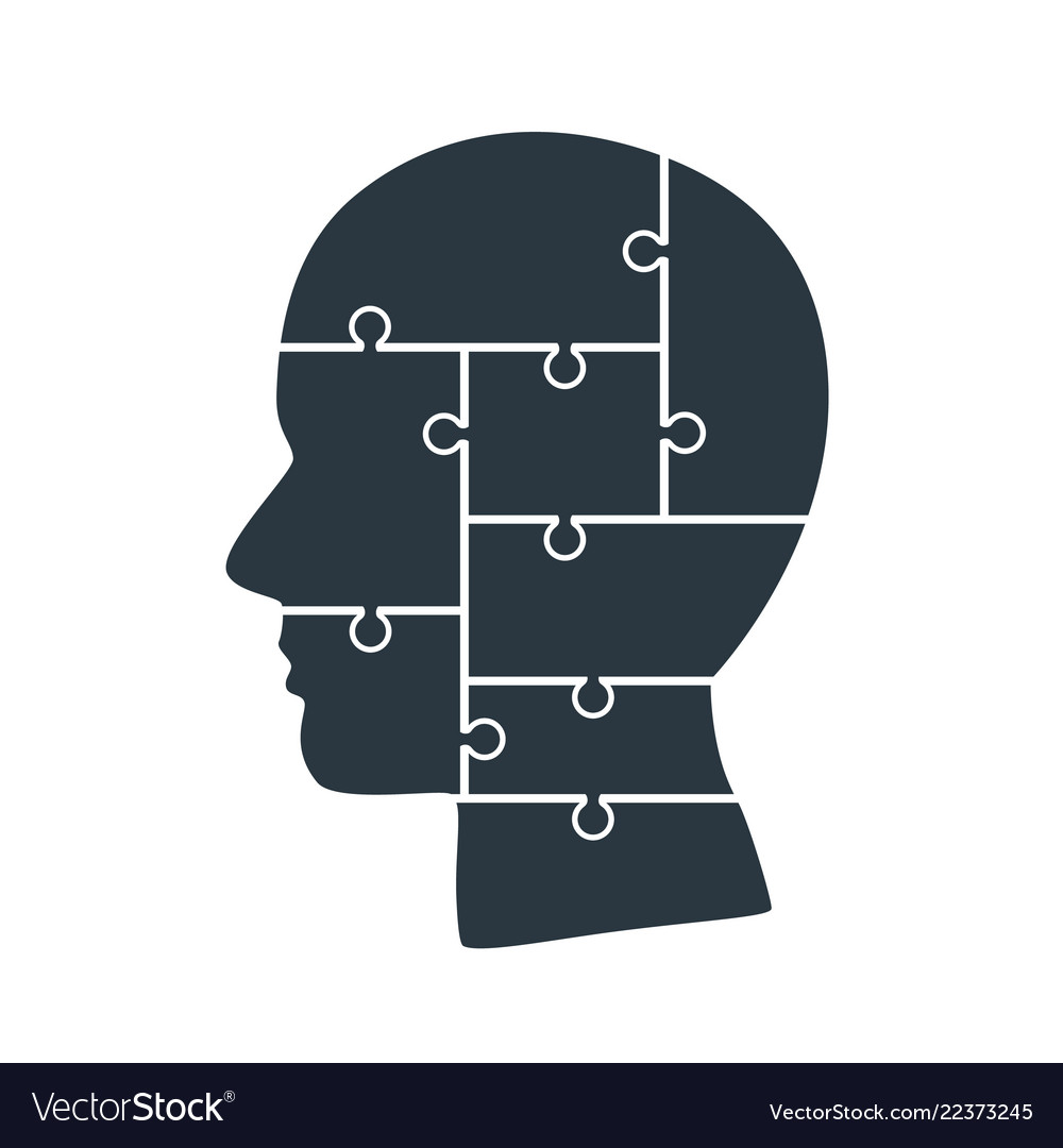 Head info puzzle sign template design element