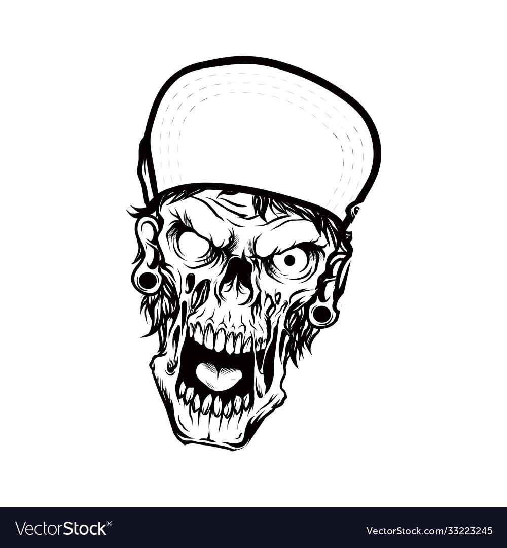Head skeleton wearing cap