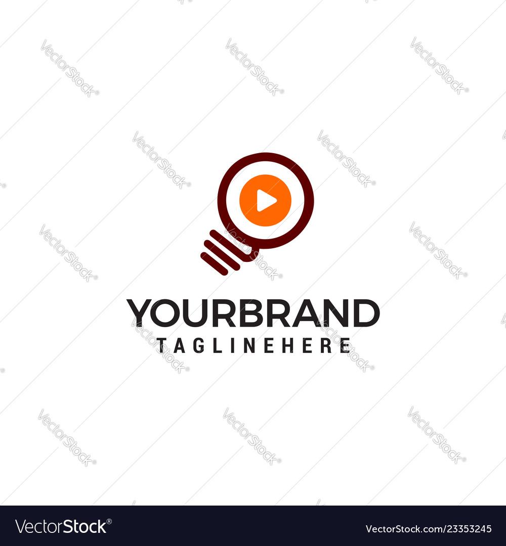 Light bulb play logo design template