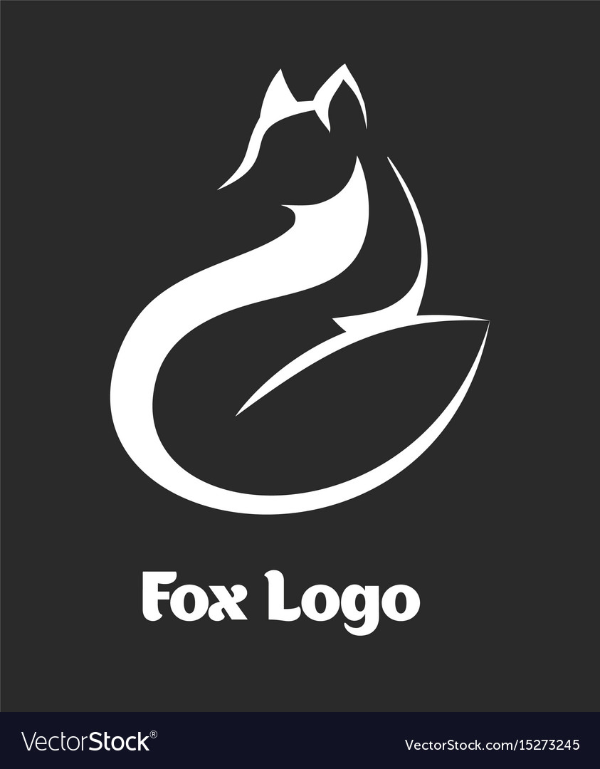 Logo fox fox sitting and looking away vector image