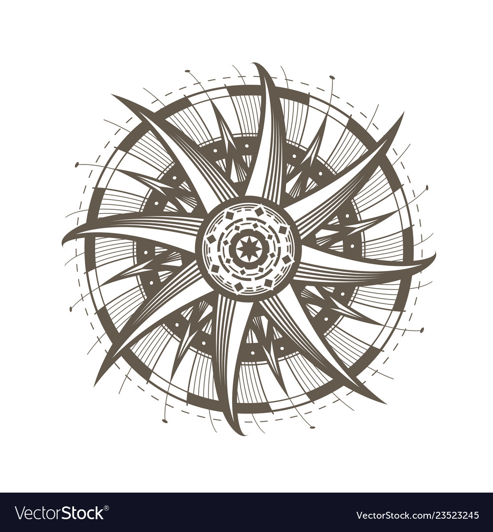 Mandala sun symbol decorative round ornament