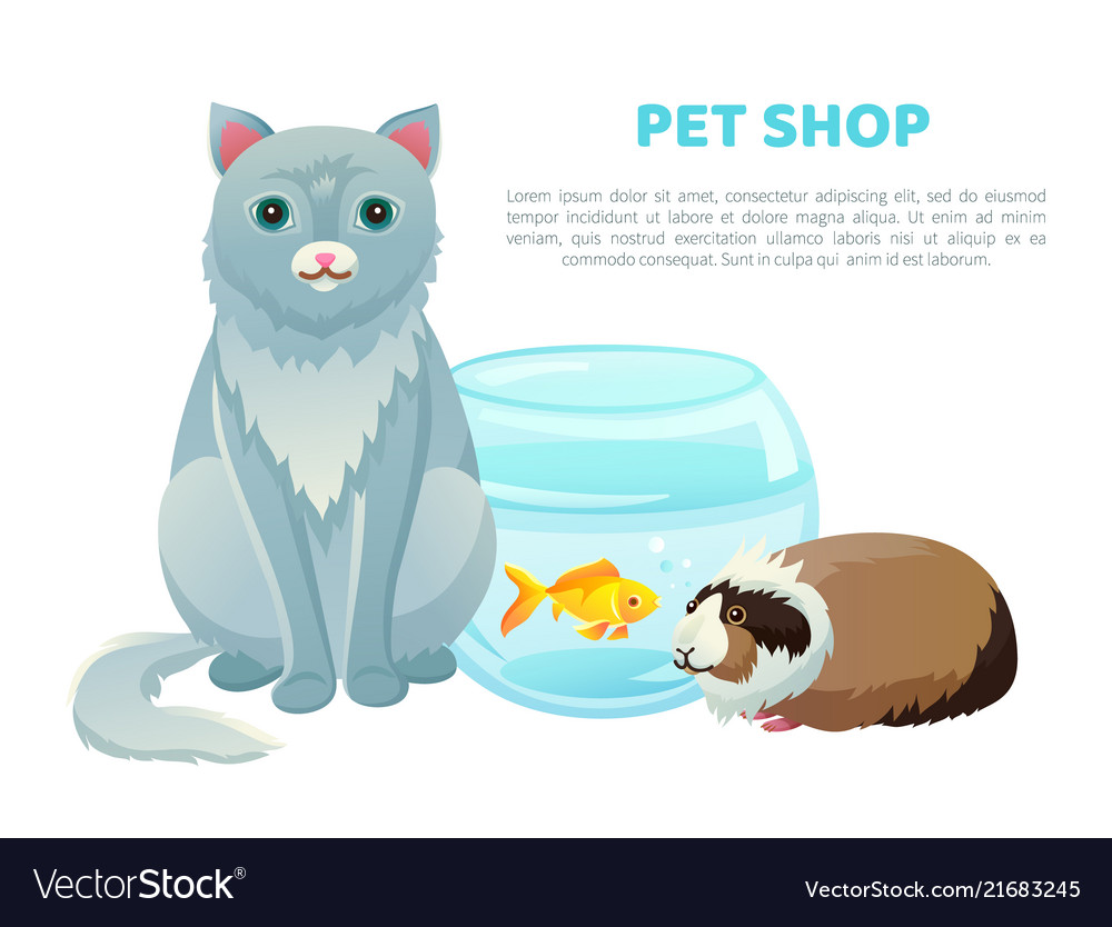 Pet shop banner with various animals and text