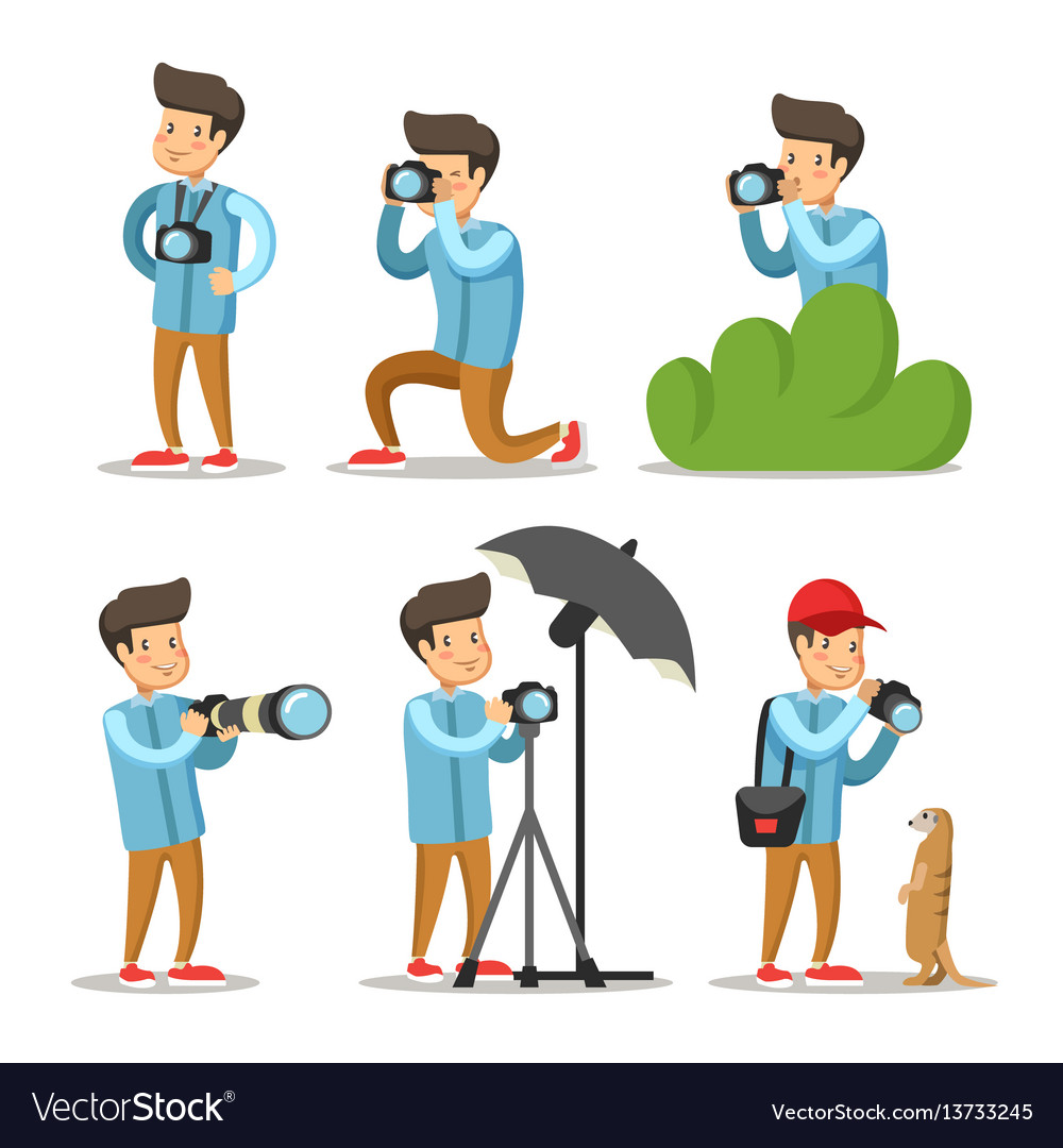Photographer cartoon character set