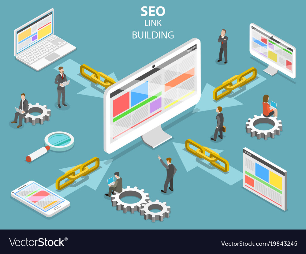 Seo link building flat isometric concept