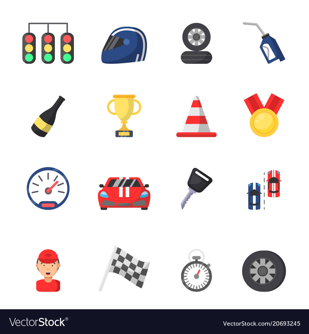 Sport symbols of racing car motor track and