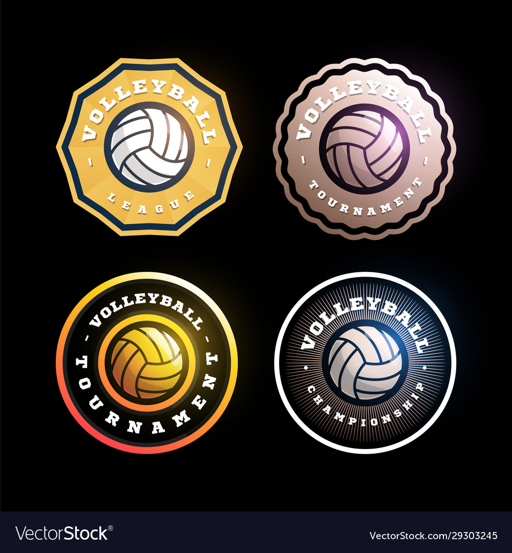 Volleyball circular logo set modern professional