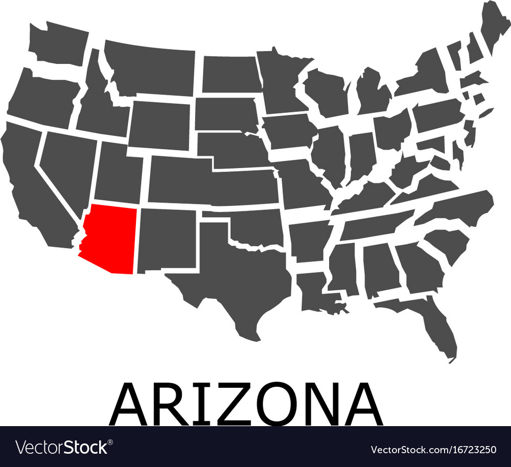 Arizona state on usa map Royalty Free Vector Image