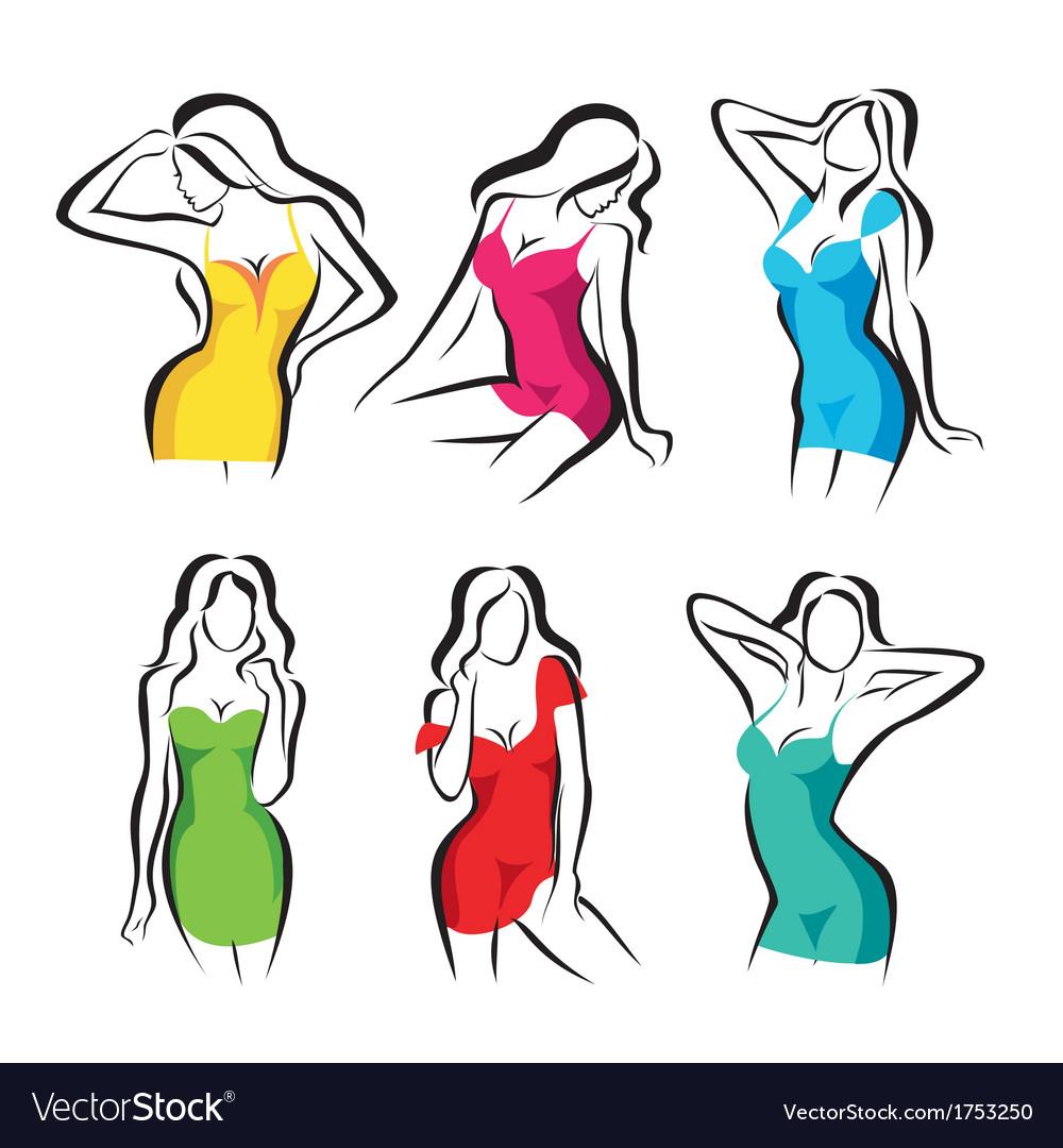 Beautiful women set of symbols in dress