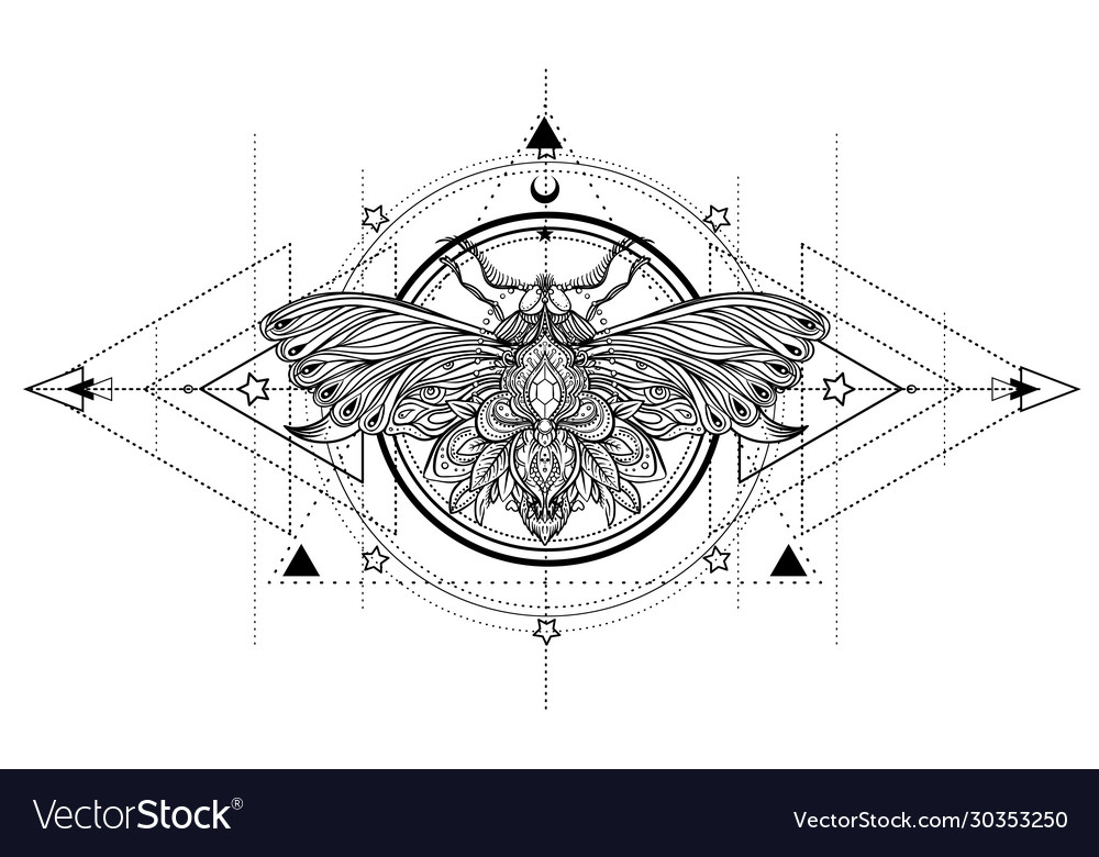 Black and white butterfly over sacred geometry