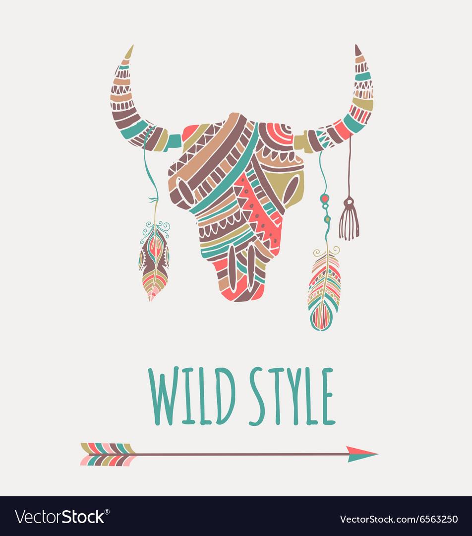 Bohemian style Bull Skull poster vector image