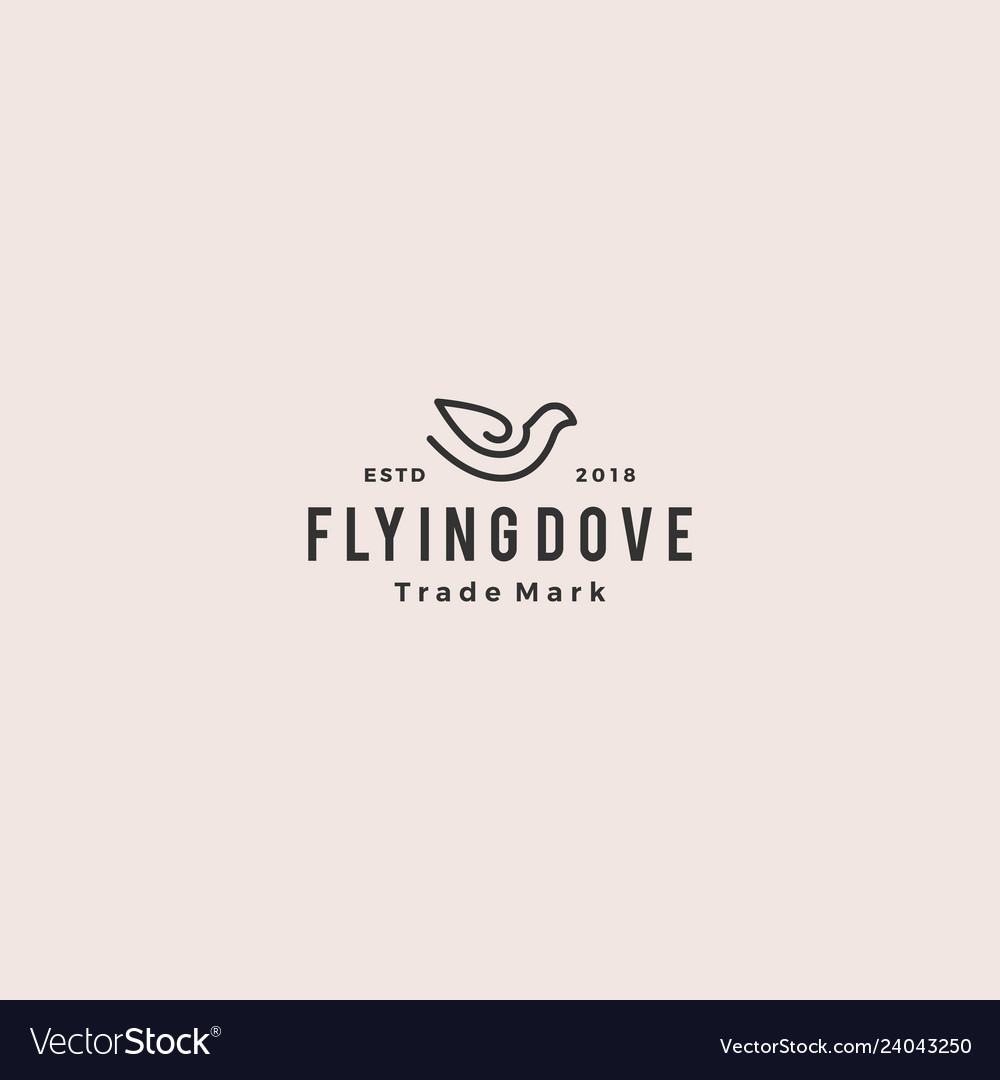 Dove logo vintage hipster retro icon line outline