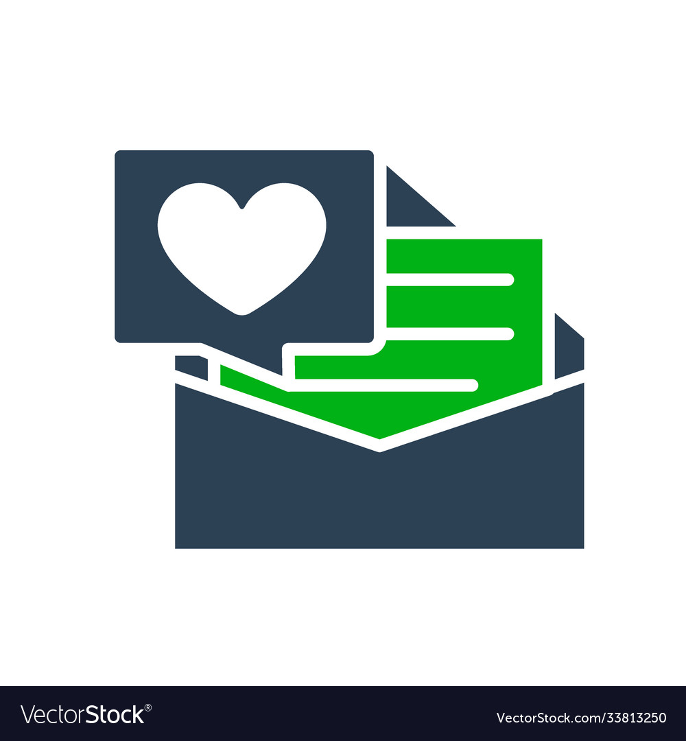 Letter with big heart colored icon declaration of