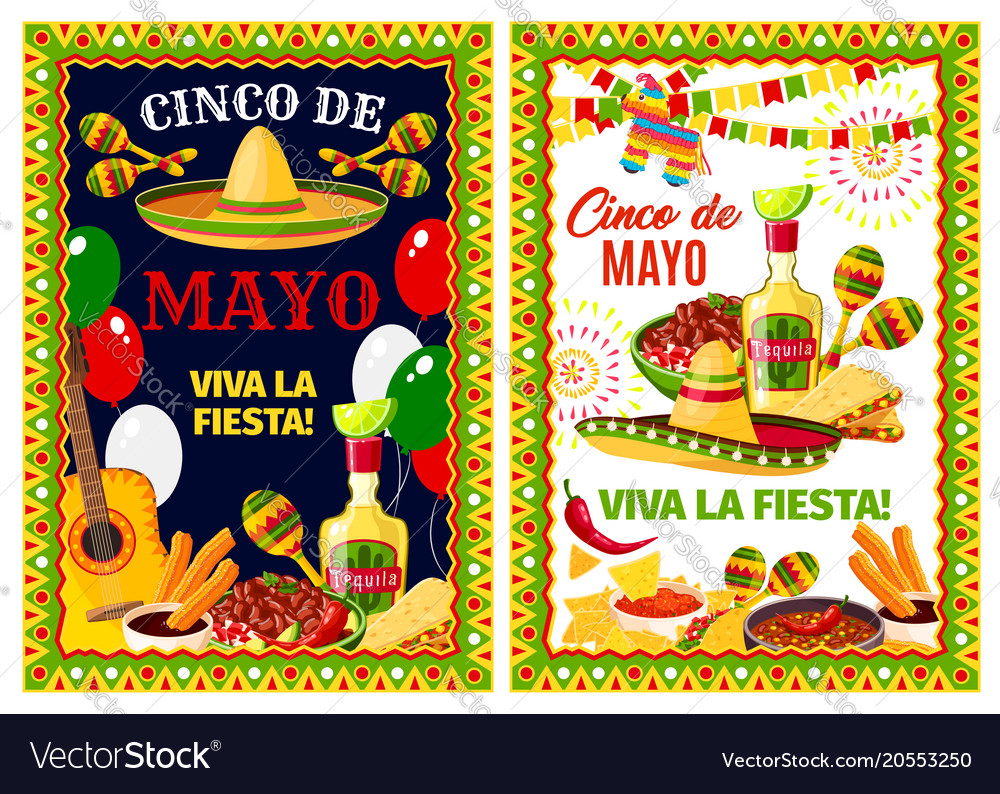 Mexican cinco de mayo holiday greeting banner