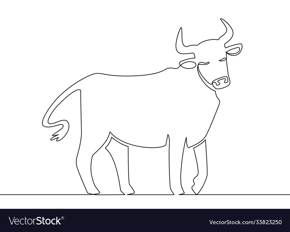 One line ox chinese new year 2021 bull continuous