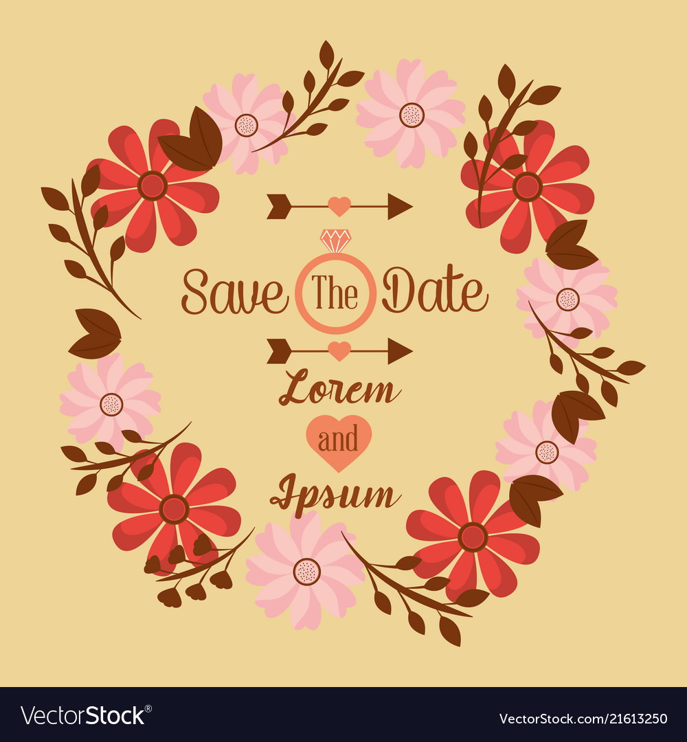 save the date wedding invitation design template vector image